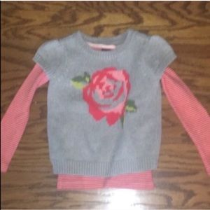 Kid's Tea Collection Rose Flower Sweater